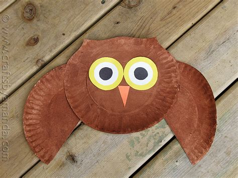 Owl Paper Plate Craft - paper plate owl craft crafts by amanda