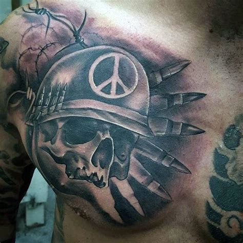 chest tattoo military 90 army tattoos for men manly armed forces design ideas