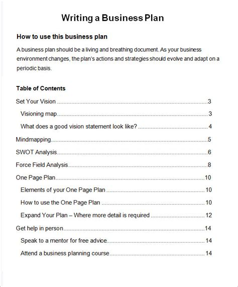 business plan contents template bussines plan template 22 free documents in
