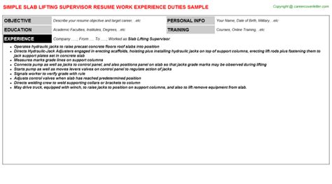 Concrete Supervisor Cover Letter by Slab Lifting Supervisor Resume Sle