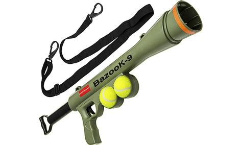 tennis thrower for dogs bazook 9 pet squeaking tennis launcher for dogs groupon