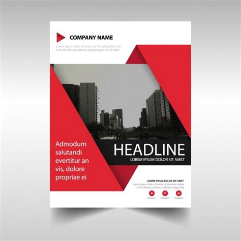 brochure template red template for geometric brochure red color free vector