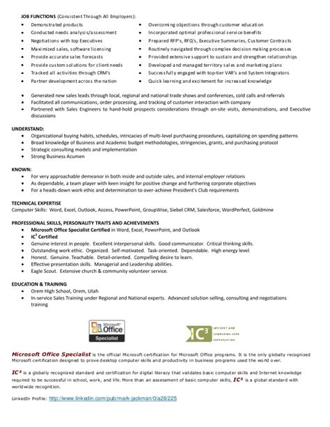 Microsoft Licensing Specialist Sle Resume by Jackman Resume 2013