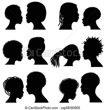 African Female And Male Face Vector Silhouettes Afro