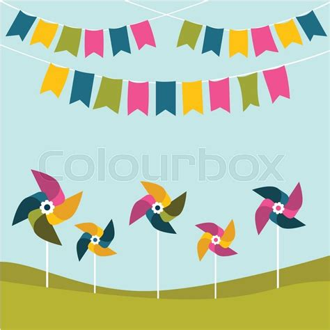 flat design poster vector festival party birthday poster with color pinwheels on