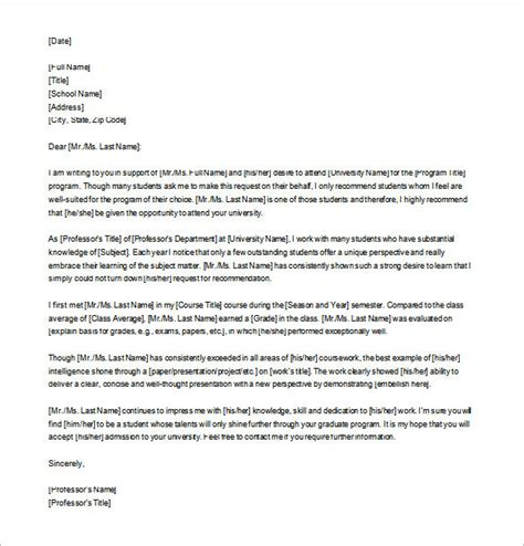 Letter Of Recommendation For Graduate School Template 8 letters of recommendation for graduate school free