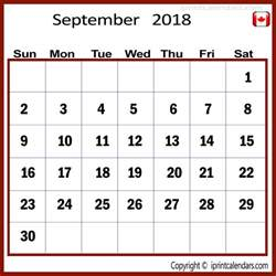 2018 Calendar Canadian Holidays September 2018 Calendar Canada 2018 Calendar With Holidays