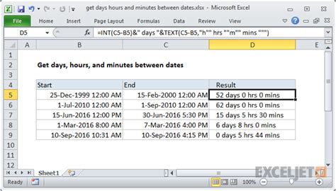 format excel days hours minutes excel formula get days hours and minutes between dates