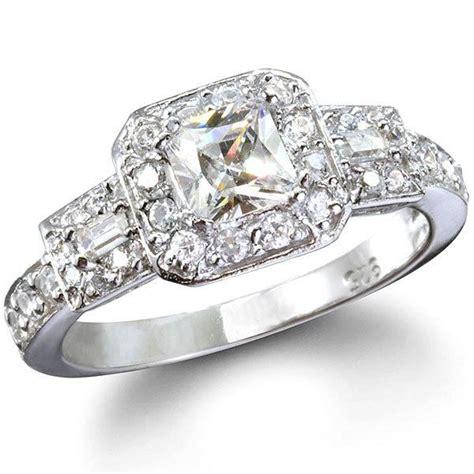 ireland s princess cut cz vintage style ring halo wedding