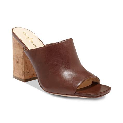 cole haan sandals womens cole haan womens slide on sandals in brown chestnut