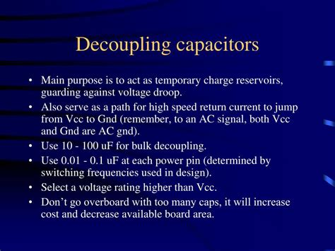 decoupling capacitor rating ppt pcb design layout tips powerpoint presentation id 219082