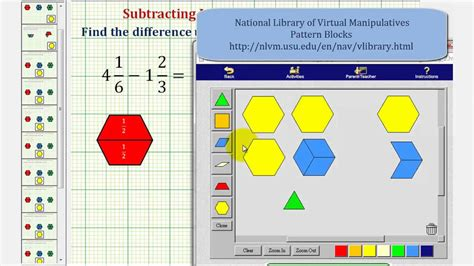 pattern blocks mixed numbers ex 3 find the difference of two mixed numbers using