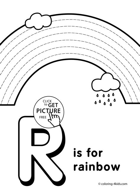 R Is For Rainbow Coloring Page by Letter R Coloring Pages Of Alphabet R Letter Words For
