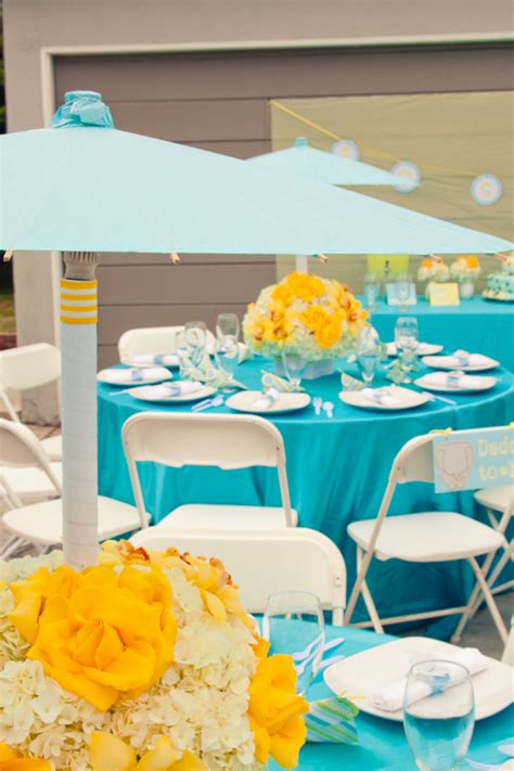 Turquoise Blue And Yellow Wedding Decorations