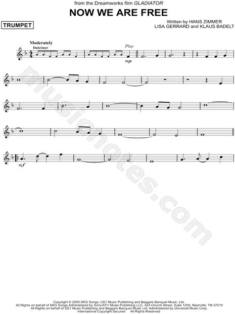 gladiator film now we are free quot now we are free quot from gladiator sheet music trumpet