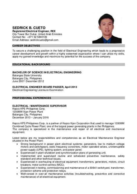 resume format 2013 sle philippines sedrick cueto cv cover letter