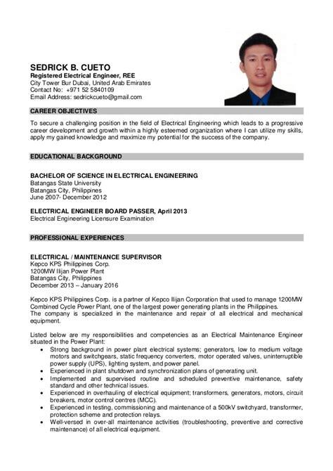 Resume Sle Board Passer sedrick cueto cv cover letter