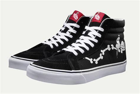 Vans Sk8 Reissue Peanuts Snoopy Bones Black Import Quality Premium vans x peanuts snoopy bones black sk8 hi reissue skate
