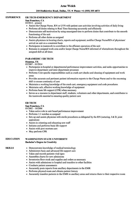 er tech resume resume ideas