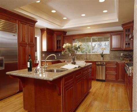 Pictures Of Kitchens Traditional Medium Wood Kitchens Cherry Cabinet Kitchen Designs