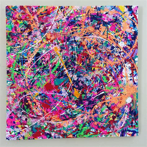 colorful canvas neon abstract splatter painting colorful canvas large