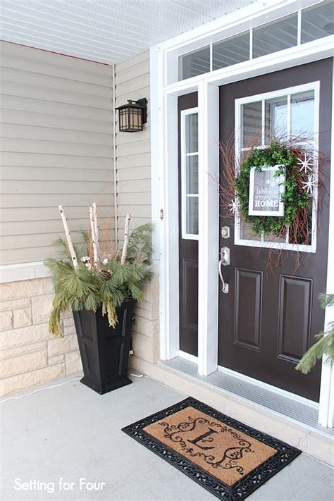 front entryway decorating ideas winter entryway decor and curb appeal ideas setting for four