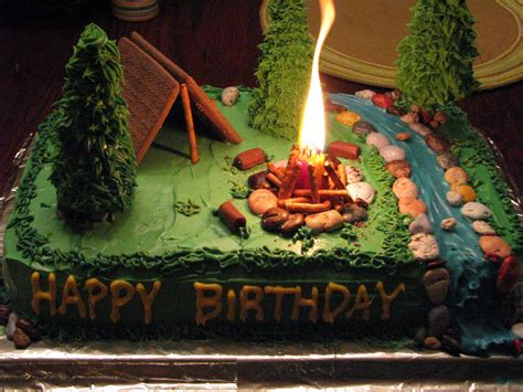 camping cake  cool   decide    camping theme  candle    campfire