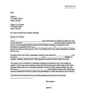 Demand Letter For Child Support sle alimony letters