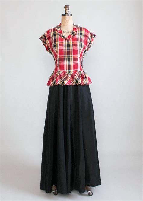 dance dresses of the 1940s ehow uk vintage 1940s plaid taffeta full length dance dress
