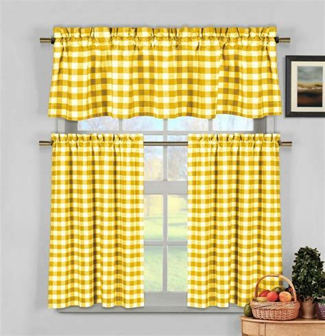 Yellow Gingham Checkered Plaid Kitchen Tier Curtain