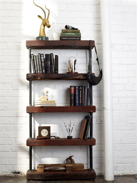 reclaimed wood and pipe shelving unit