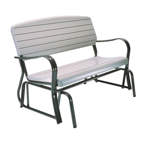 metal and wooden glider bench and benches