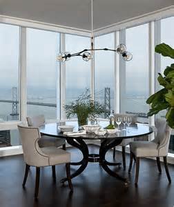 dining room linens round black dining table with gray linen dining chairs