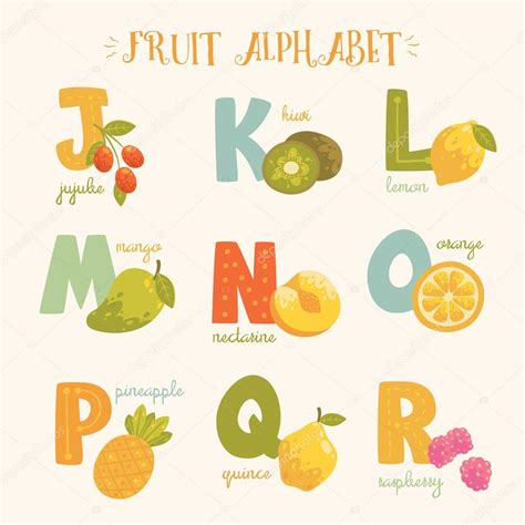 alphabet de vecteur de fruits color 233 s j k l m n o p