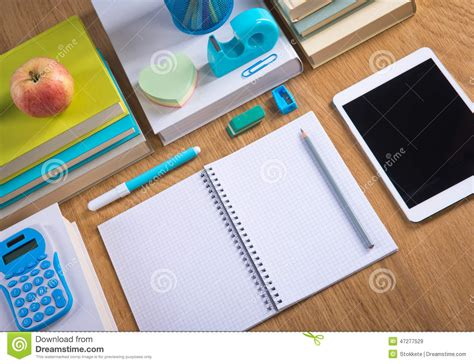 Tidy Student Desktop Stock Photo Image 47277529 Student Desk Top