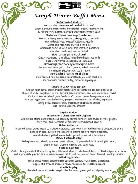 buffet menu items chef attended buffet stations shore boston
