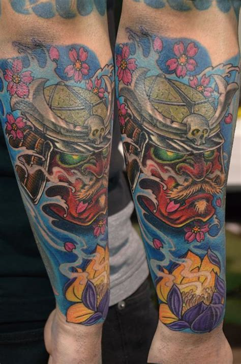 tattoo new school samurai red samurai mask with waves and flowers by rafael marte