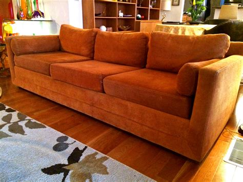 burnt orange couch mid century modern selig monroe vintage sofa with original