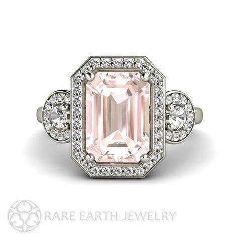 pink morganite engagement ring emerald halo