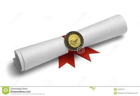 pergaminos para grado grado y medalla del graduado imagen de archivo imagen