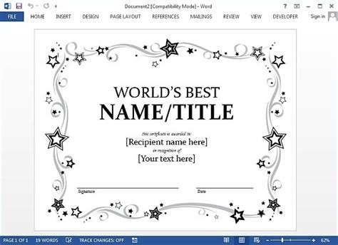 templates for award certificates in word award certificate template for word
