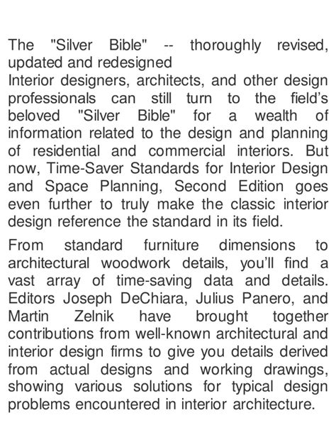 urban planning and design criteria joseph dechiara time saver standards for interior design and space
