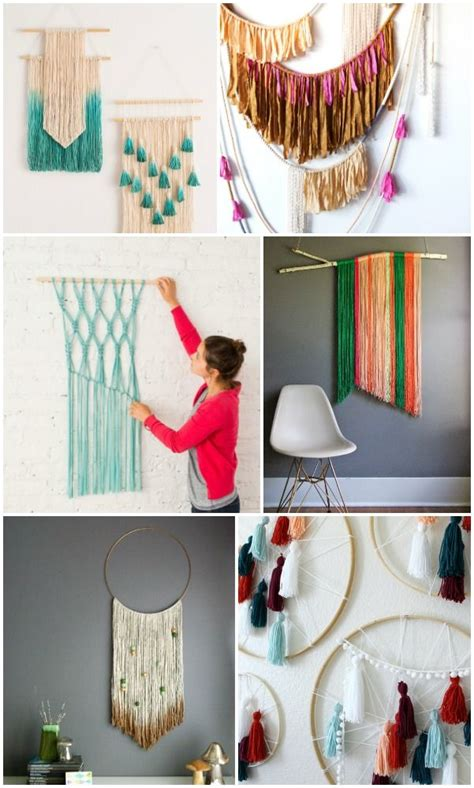 easy diy yarn art wall hanging ideas diy home yarn