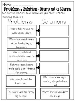 problem and solution reading worksheets diary of a worm problem by kmwhyte s kreations