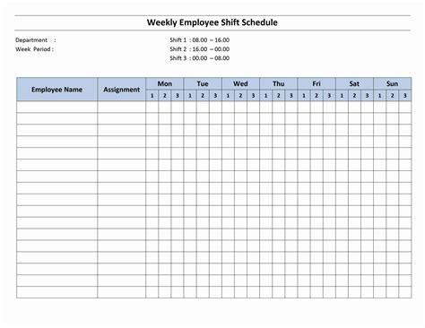 monthly work schedule template weekly employee