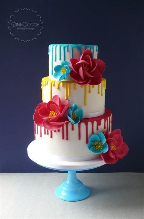 Super Bright Drip Wedding cake   Pink Cocoa