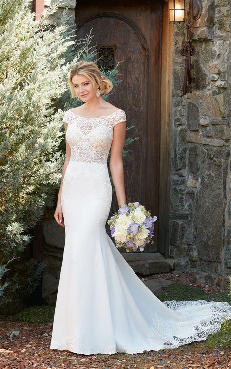 shoulder wedding gown  lace train essense