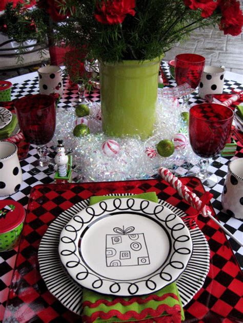 black and white christmas table decorations table ideas decorating with and green