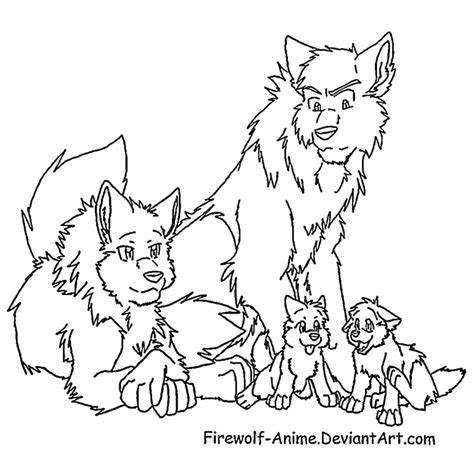 wolf family lineart by firewolf anime on deviantart
