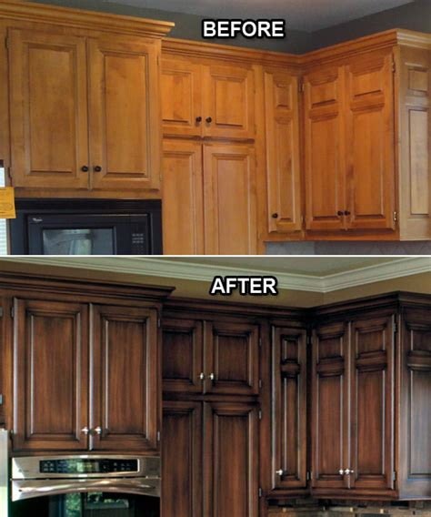 Stained Kitchen Cabinets Before And After Ple Wood Carving Projects Staining Wood Cabinets Before And After